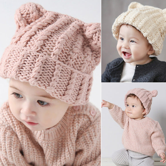 Newborn Baby Boy Girl Infant Kids Cute Winter Warm Beanie Wool Cap Soft Knit Hat