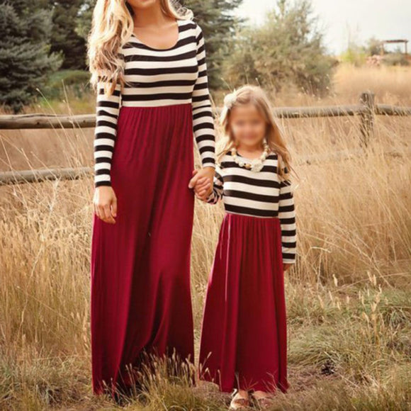 Mother Daughter Matching Clothes Striped Mom Kids Parent Long Dress Outfits Plus