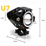 125W Motorcycle Headlight Angel Eyes Lamp U7 LED Fog Spot Light W/Switch Kits