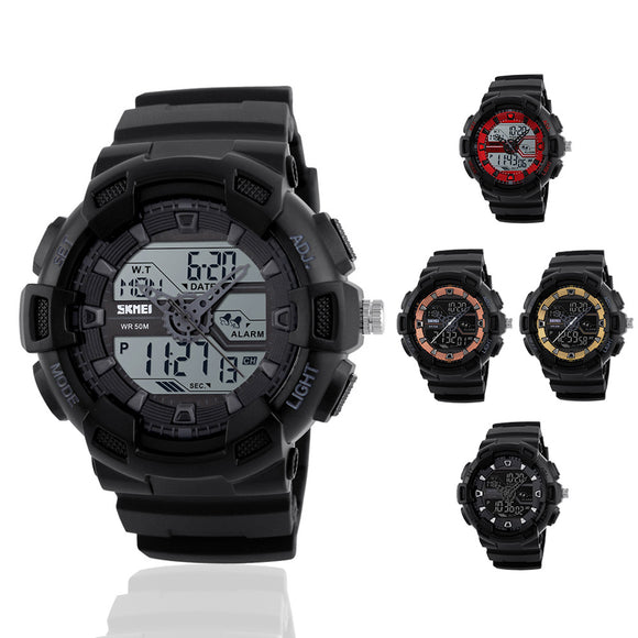 Men's LED Waterproof Rubber Watchband Dual Display Outdoor Sports Watch