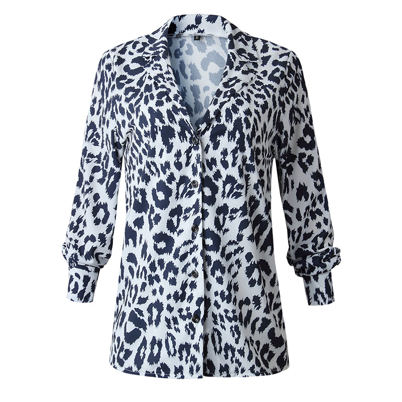 751c57e84a03 ... UK STOCK Women V Neck Ladies Leopard Print Long Sleeve Loose T Shirt  Tops Blouse ...