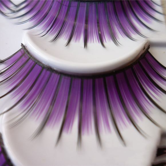 e818d76bf73 Purple Colorful Thick Feather Eyelashes False Eye Lash Party Cosmetic Long  Hot