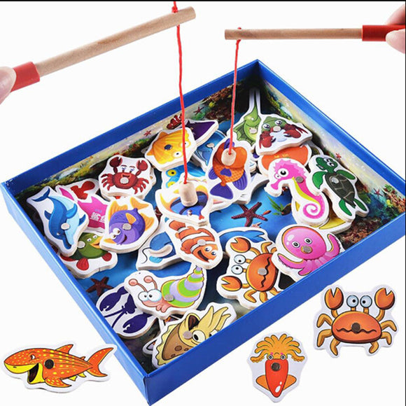 Kids Wooden Magnetic Fishing Game Puzzle Board 32pcs Sea Animals 2pcsFishing Rod