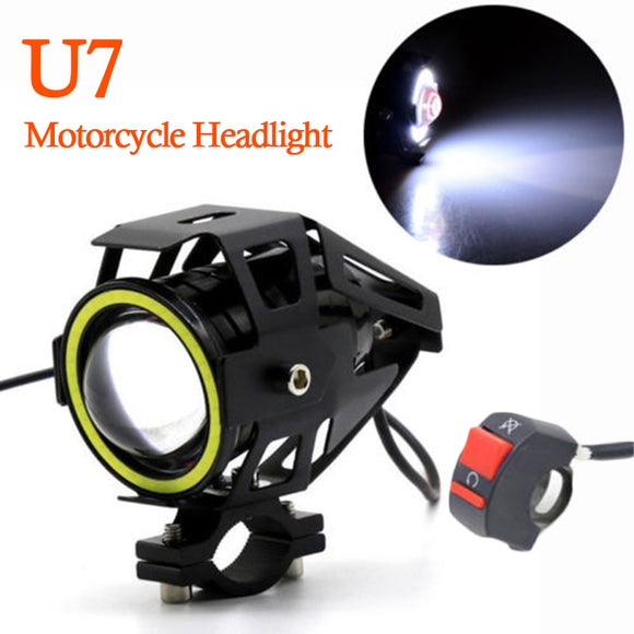 125W CREE U7 Motorcycle Headlight White Angel Eye Led Driving Light & Switch
