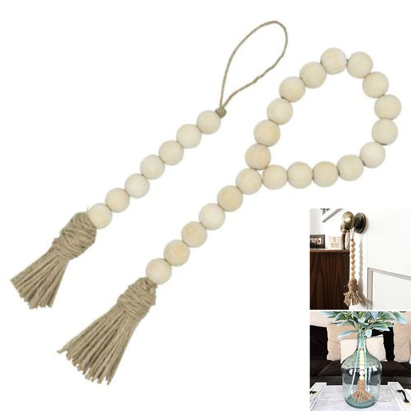 Tassel Farmhouse Beads Natural Wood Bead Garland Baby Nursery Room Decor