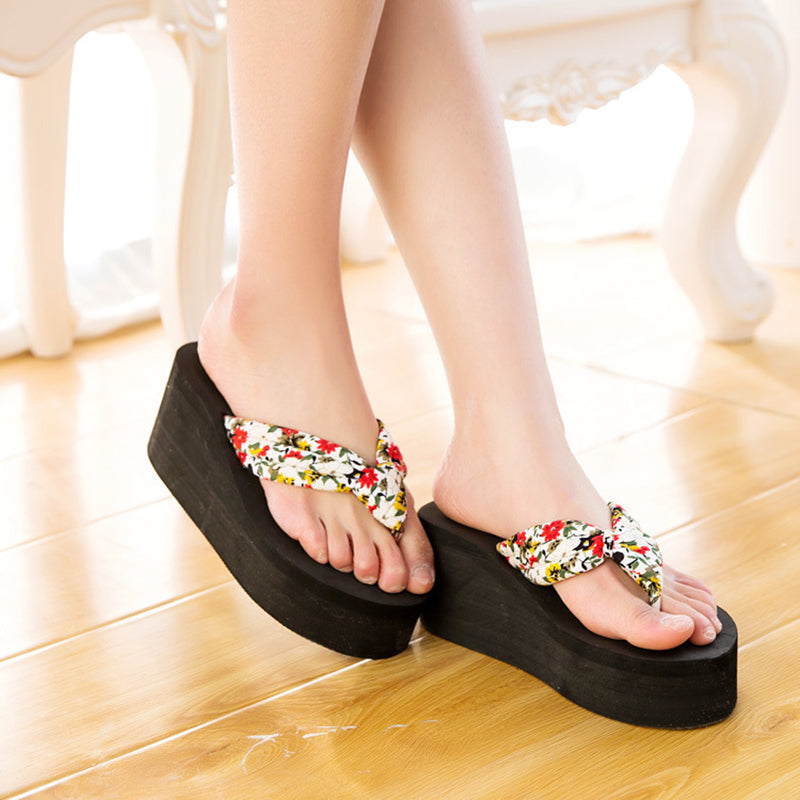 70bdfb0ae ... Women Wedge Thick Flip Flops Platform Thong Sandals Beach Summer Stock  Shoes New