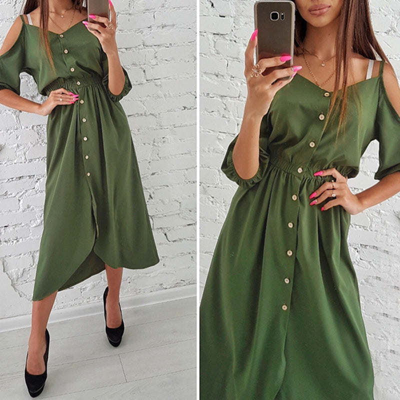 e15bed91e4 ... Stylish Women Summer Holiday Strappy Half Sleeve Button Ladies Casual  Midi Dress ...