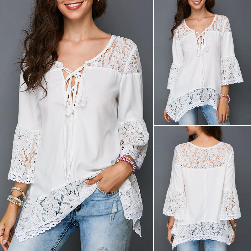 9af75367f Ladies Women Summer Loose Casual Lace Long Sleeve Baggy T Shirt Tops Blouse  ...