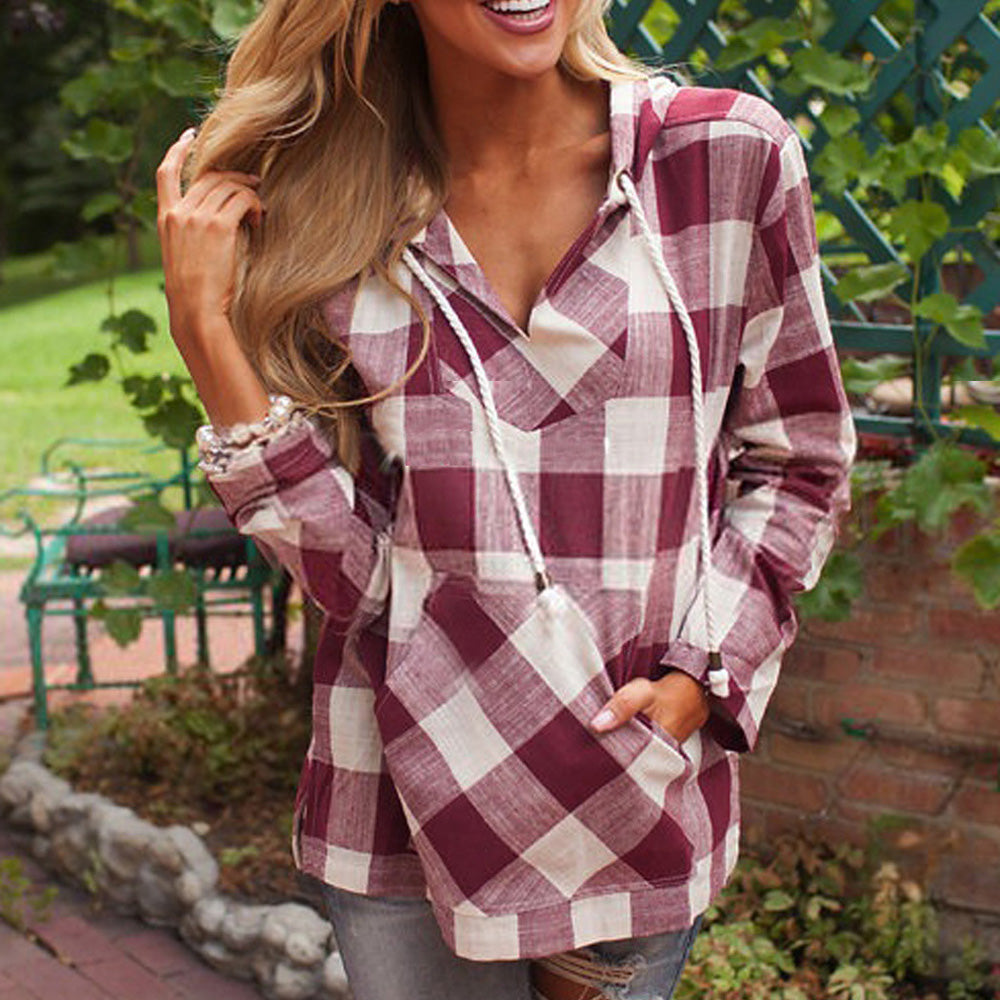 d7ca7a2bbb3 ... Plus Size Tops Long Sleeve Hooded Plaid Shirts Fashion New Polyester  Brand New ...