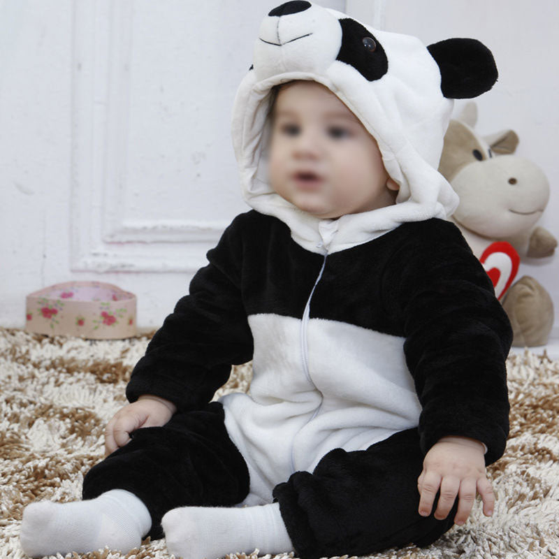 67380f70c2a68 Kids Baby Girls Boys Toddler Panda Hooded Long Sleeves Romper Playsuit  Outfit