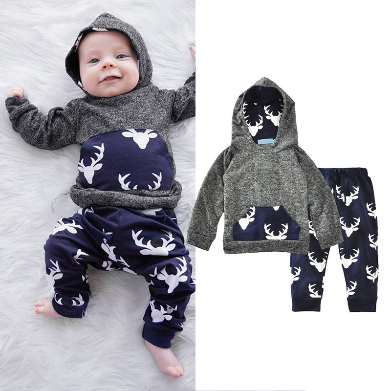 16eed9dd0 Toddler Baby Boys Winter Hoodie T-shirt Tops Pants Outfits Xmas 2pcs Set  Clothes ...