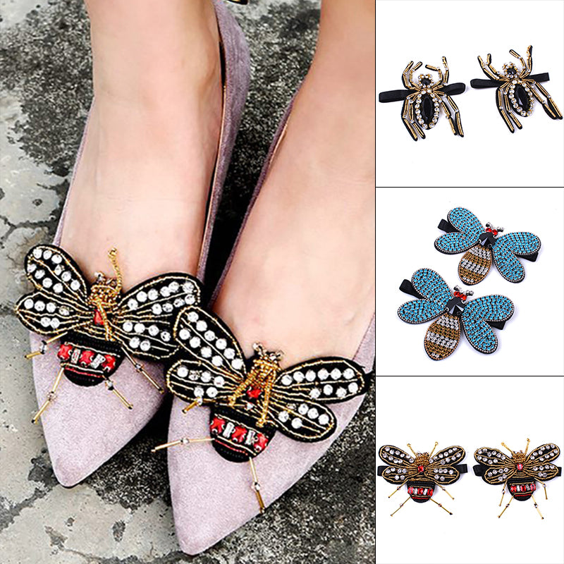 1 Pair Crystal Rhinestone Butterfly Bees Shoe Clips Women Wedding Shoes  Decor ... 23b5ca09e79c