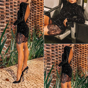 9e4f4743cd5 Women Sequins Bodycon Backless Sexy Party Club Cocktail Evening Mini Dress