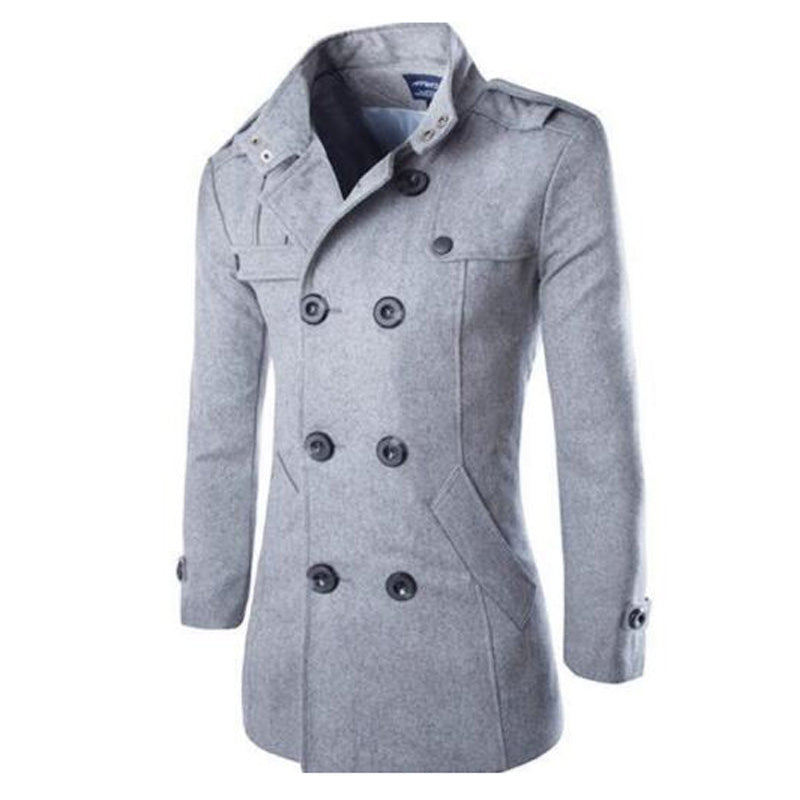 10e0ccfc861 ... New Mens Winter Warm Long Trench Coat Jackets Double Breasted Peacoat  Plus Size ...