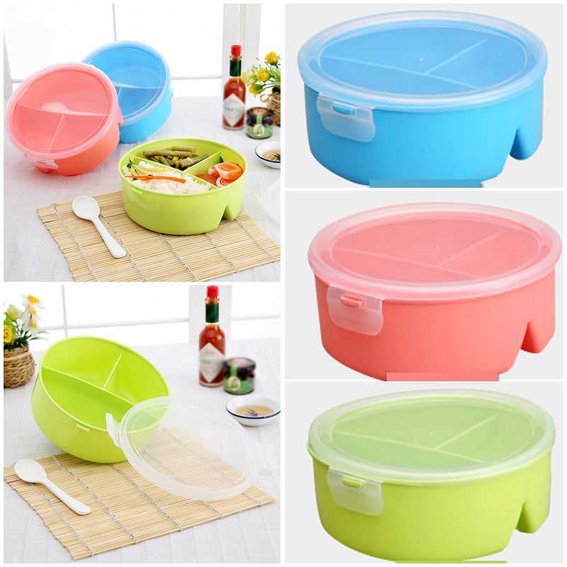 a750985adb52 1x Microwave Bento Lunch Box +Spoon Utensils Picnic Food Container Storage  Box