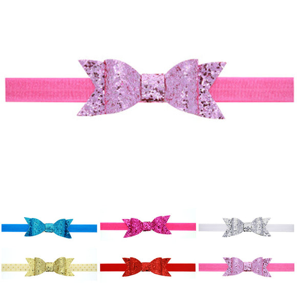 Cloth Bow Baby Girls Headband Soft Band Glitter Newborn Headbands LOT color hot