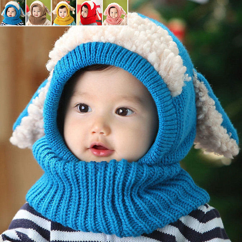 f64c2482a7e73 ... Kids Cute Baby Toddler Winter Beanie Warm Hat Hooded Scarf Earflap  Knitted Cap ...