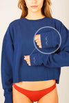 Navy Cropped Sweatshirt