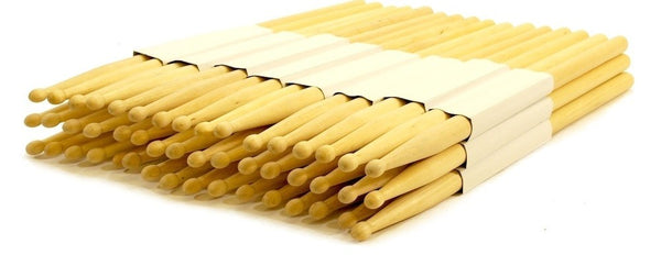 12 PAIRS - 5B WOOD TIP NATURAL MAPLE DRUMSTICKS