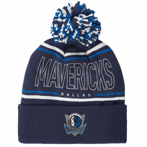 NBA Dallas Mavericks Men's Energy Stripe Cuffed Knit Pom, One Size, Navy