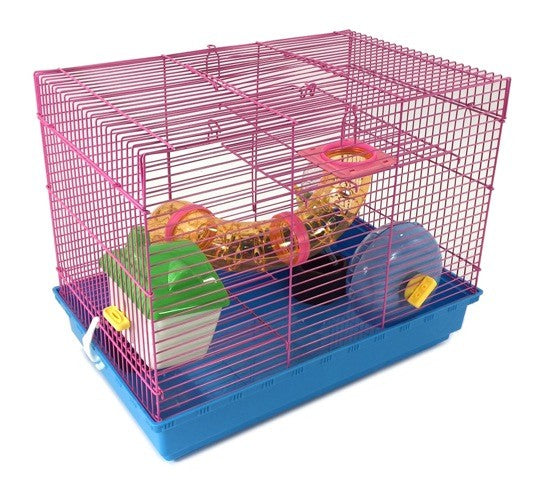 3 Level Hamster Cage Wheel Tubes House Rodents Gerbil Rat