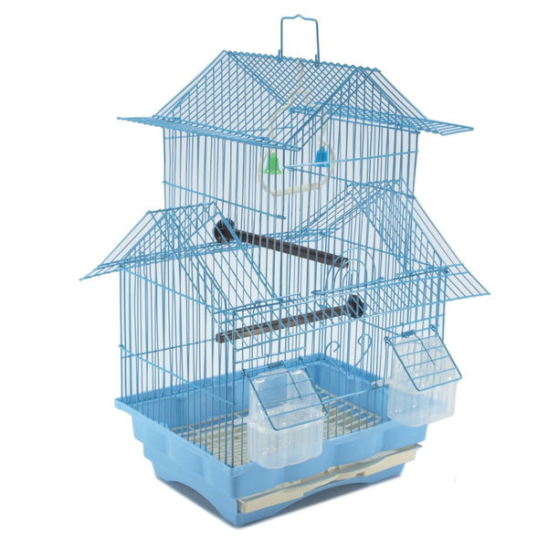 Blue 18-inch Medium Parakeet Wire Bird Cage for Budgie Parakeets Finches Canaries Lovebirds Small Quaker Parrots Cockatiels Green Cheek Conure perfect Bird Travel Cage and Hanging Bird House