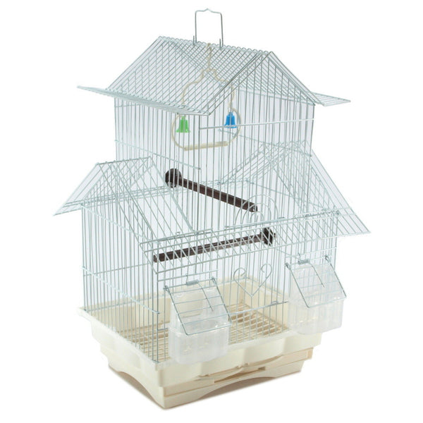 White 18-inch Medium Parakeet Wire Bird Cage for Budgie Parakeets Finches Canaries Lovebirds Small Quaker Parrots Cockatiels Green Cheek Conure perfect Bird Travel Cage and Hanging Bird House