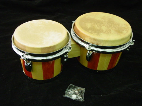 "BONGOS 7 & 8"" inch SET NATURAL LIGHT WOOD DUAL DRUMS WORLD LATIN Percussion NEW"