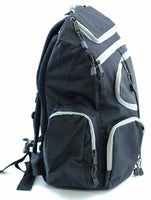BACKPACK BLACK GRAY- ZIPPERS, DAY CAMPING HIKING SURVIVAL SCHOOL BAG SACK LAPTOP