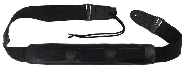 "GUITAR STRAP GENUINE LEATHER Pad 1/2"" Thick BLACK 47-60"" Belt BASS ELECTRIC"