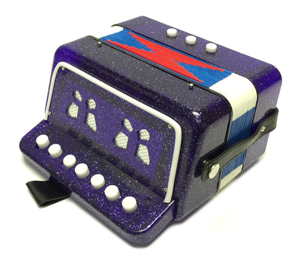 Childrens 7 KEY Button ACCORDION PURPLE Kids Accordian Organ Concertina