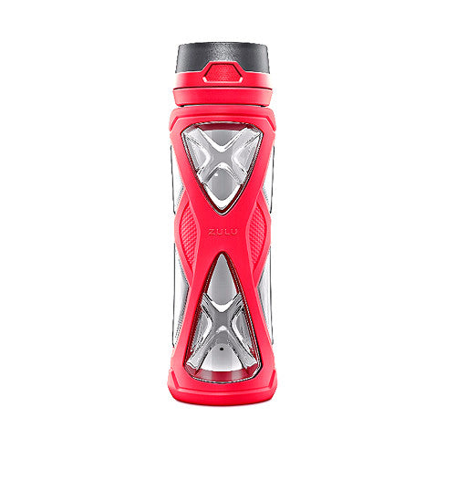 Zulu Charge BPA-Free Plastic Water Bottle with 360 Dial-a-Flow Lid, Pink, 24 oz