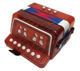 Children's 7 Key Button Accordion - Concertina - Red