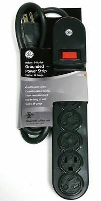 GE 6-Outlet Grounded 3 ft Power Strip Child Safety Outlet Cover - JASHEP56223