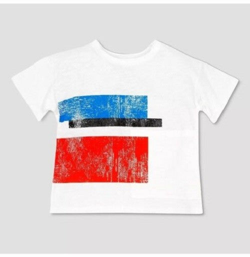 NEW Toddler Boys' Afton Street Abstract Shapes Short Sleeve T-Shirt - Ivory 12 M