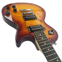 Classic LP Style Electric Guitar Exotic Burled Maple with Smooth Finish and Beautiful Sunburst Tobacco Pattern