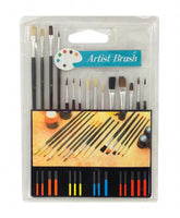 15pc Artist Paint Brush Set, all Purpose Oil, Watercolor, and Acrylic Paints