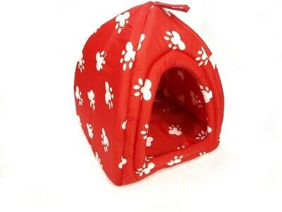 Plush Pet Bed - Red Igloo Design with White Paw Prints