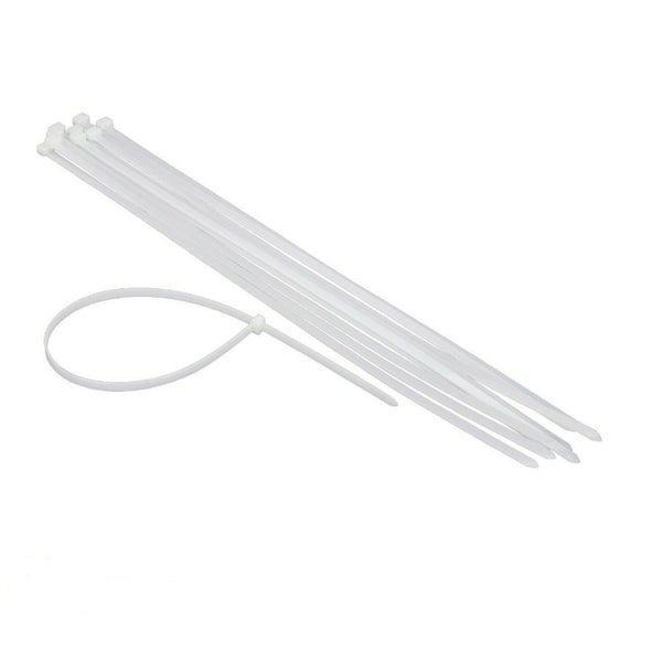 "CABLE TIES 24 Pieces 14.5""x7.6mm Ziptie Clear White Plastic Heavy Duty"