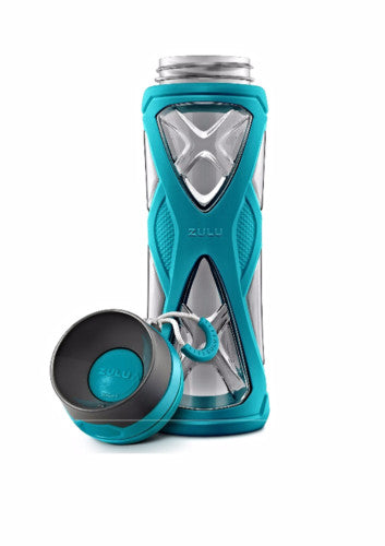 Zulu Charge BPA-Free Plastic Water Bottle with 360 Dial-a-Flow Lid, Teal, 24 oz