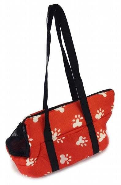 Plush Pet Travel Bag - Red with White Paw Prints