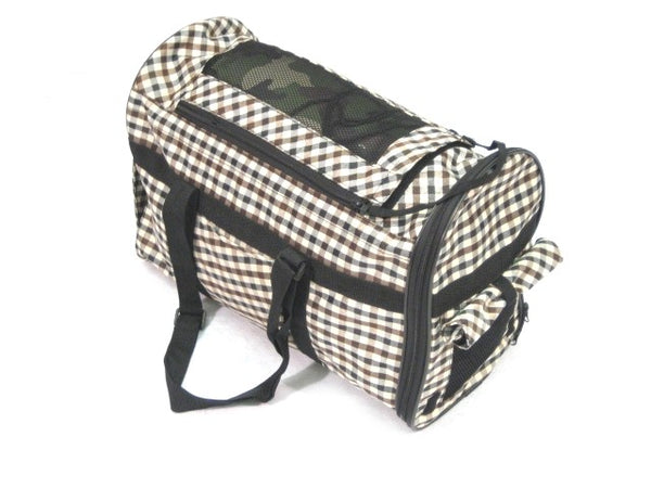Pet Carrier Tote Bag - Black with Brown Plaid