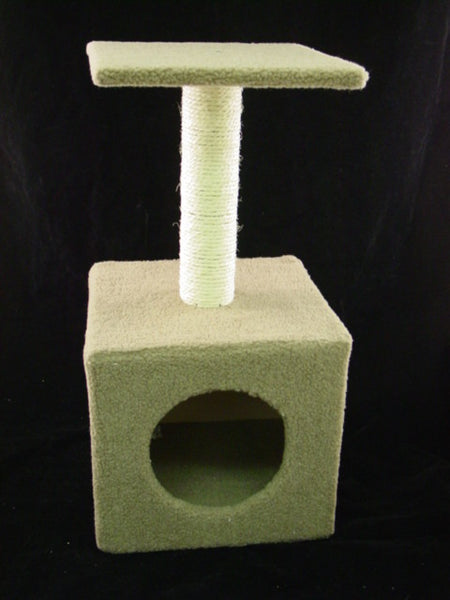 Pet Scratch Tower with Box Sleeping Home - Brown Fur