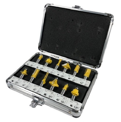 12pc Router Bit Set Tungsten Carbide Tip TCT With 1/2 Shank Cutter and Aluminum Case