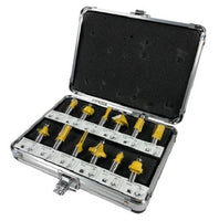 12pc ROUTER BIT SET 1/4 inch Shank CARBIDE KIT ALUMINUM CASE SAE New