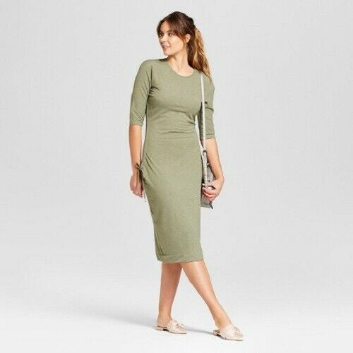 Women's Heathered Cinched Waist Dress - A New Day™ Olive L