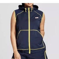 NEW! Hunter For Target Womens Navy Blue Hooded Windbreaker Vest Size SMALL