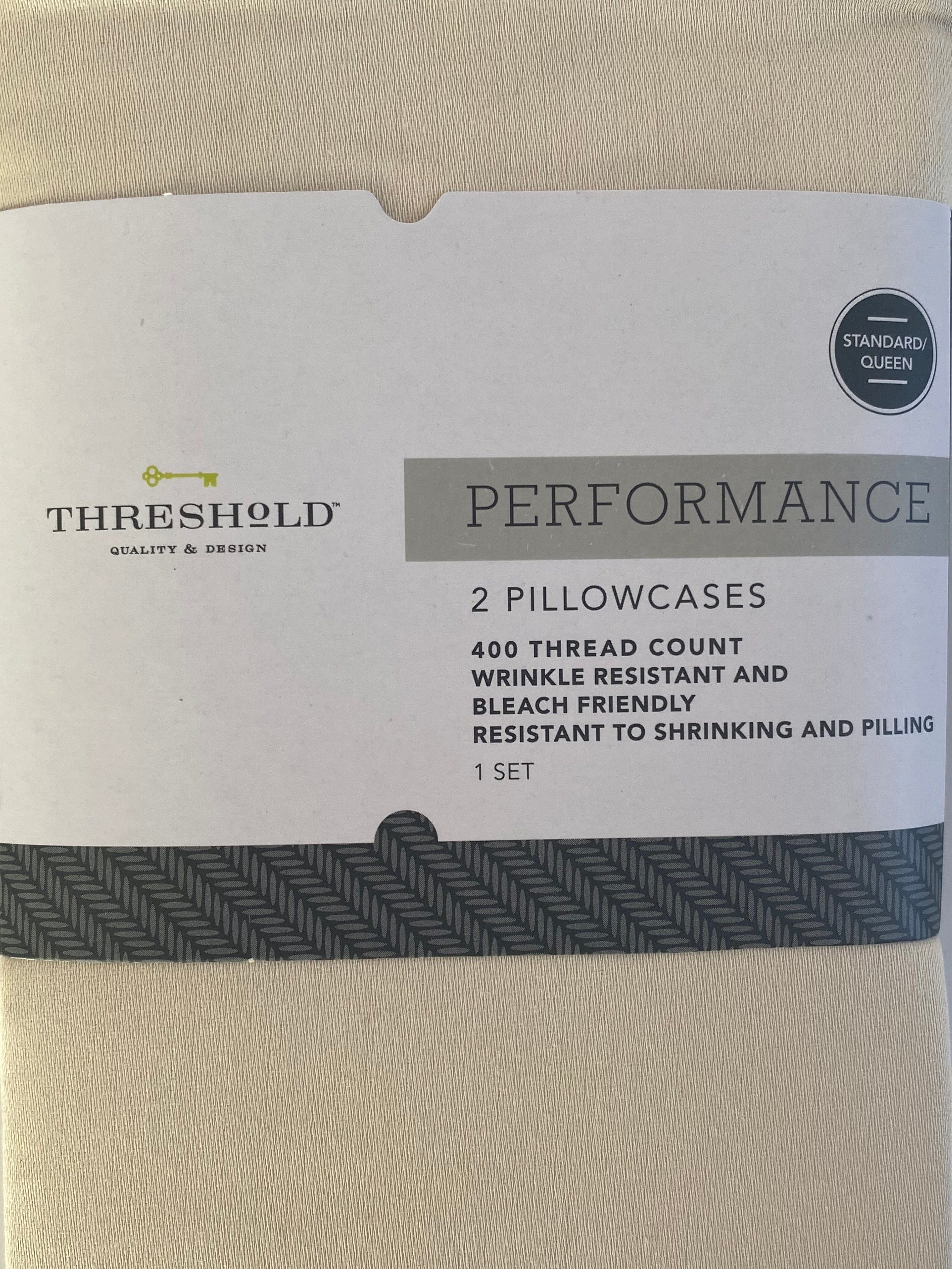 NEW! Threshold Performance Colonade White Standard Pillowcases Pack of 2