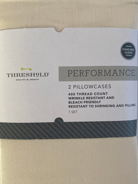 400 Thread Threshold Performance 2 PK Colonade White Standard Sizes Pillowcases