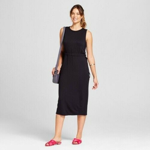 New! Women's Knit Tie Waist Dress - A New Day™ Black Large